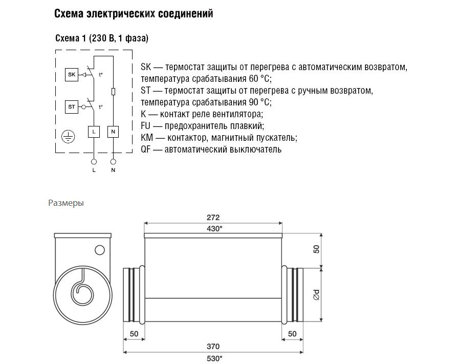 Эл/нагреватель для круглого канала ЕНС 125-1,2/1