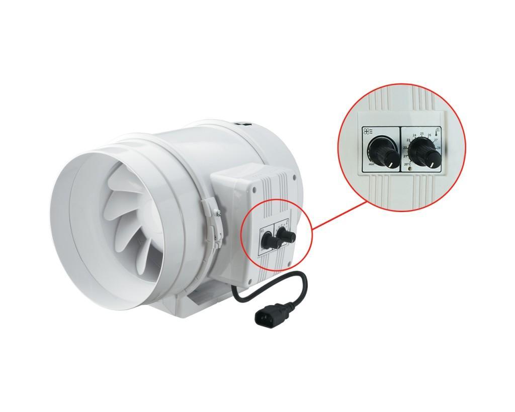 """Cо встроенным в канал вентилятора датчиком температуры (опция """"У""""/""""У1"""")."""